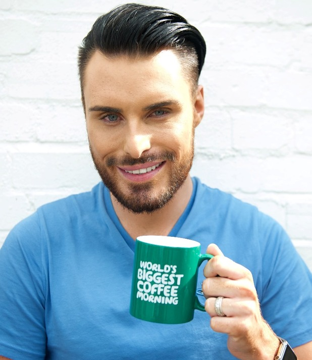 Rylan Clark 'raises a mug' in support of Macmillan's World's Biggest Coffee Morning fundraiser, which turns 25 this year and will be taking place on Friday September 25th 2015