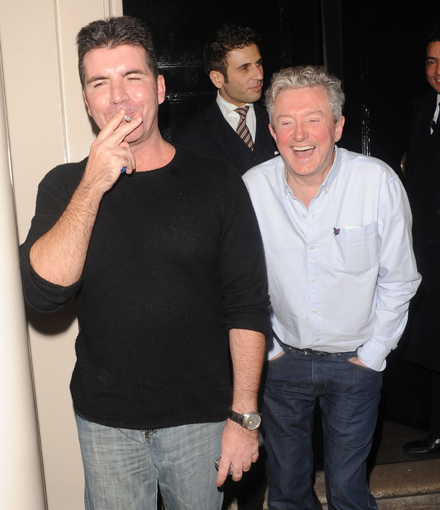 Louis Walsh and Simon Cowell outside the Arts Club - 15 February 2013.