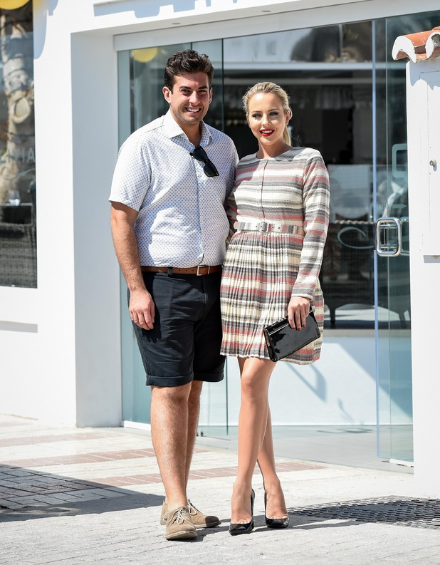 TOWIE's James 'Arg' Argent, Lydia Bright film at Olivia's La Cala in Marbella - 25 September 2015.