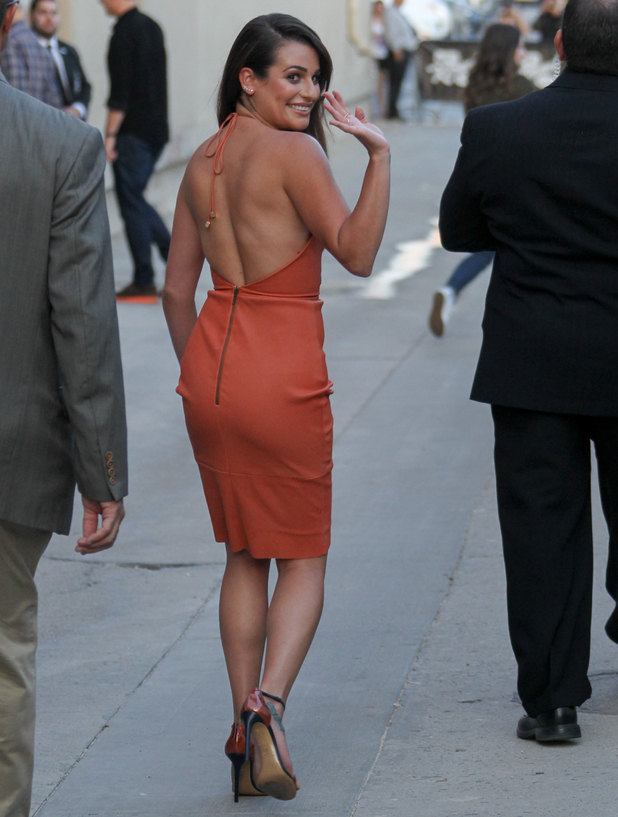 Lea Michele is seen at 'Jimmy Kimmel Live' on September 22, 2015 in Los Angeles, California.