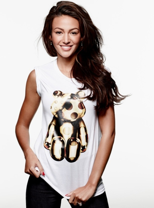 Michelle Keegan models the Children In Need 2015 t-shirt designed by Giles Deacon, September 2015