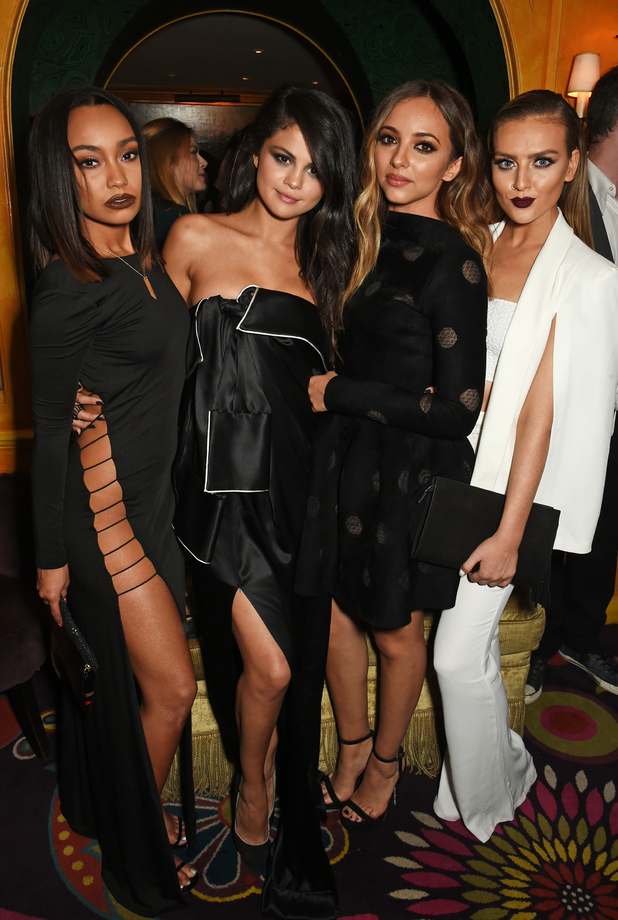 Little Mix, Jade Thirlwall, Leigh-Anne Pinnock, Perrie Edwards, Selena Gomez at Annabel's restaurant in London, 25th September 2015