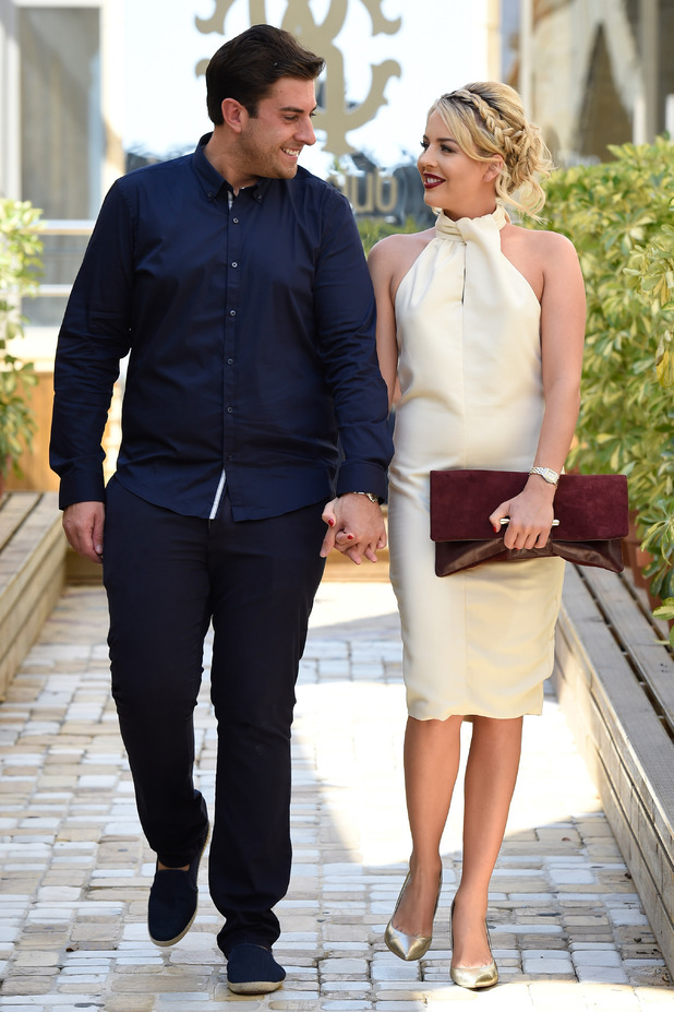 TOWIE's James 'Arg' Argent, Lydia Bright arrive at Cavalli Club in Marbella - 25 September 2015.