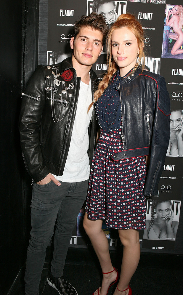 Gregg Sulkin and Bella Thorne attend the Flaunt Magazine and Luisaviaroma celebrate the release of the CALIFUK issue during London Fashion Week at Tape London on September 20, 2015