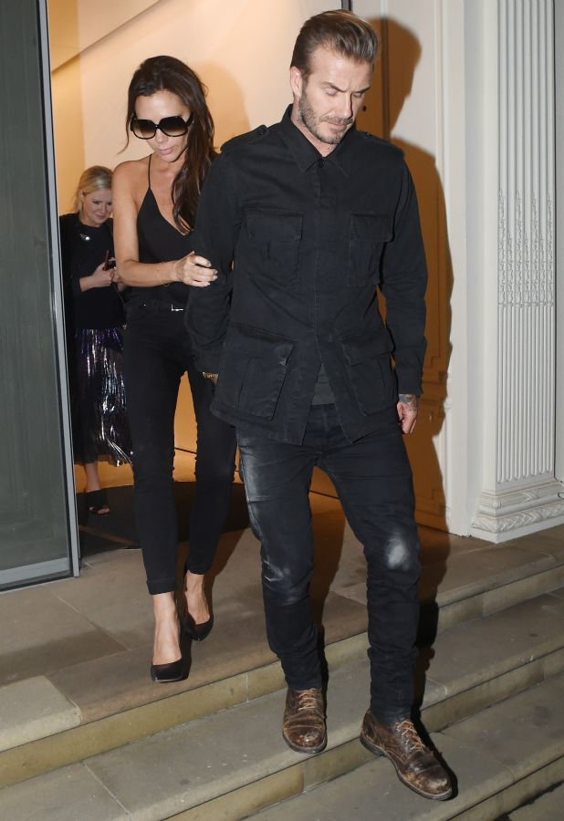 David and Victoria Beckham pictured leaving her flagship London store at 2am 22 Sep 2015