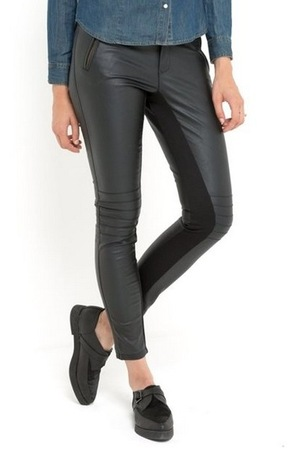 La Redoute Biker-Style Dual Fabric Faux Leather Trousers (September 2015)