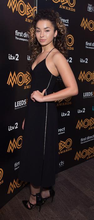 Ella Eyre wears black dress at Mobo Awards nominations 1st October 2015