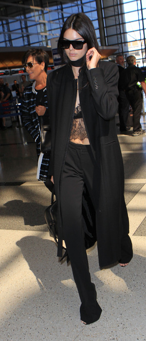 Kendall Jenner and mum Kris Jenner at L.A.X International airport in L.A, 29th September 2015