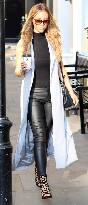 Lauren Pope out and about in London wearing powder blue waistcoat, 2nd October 2015