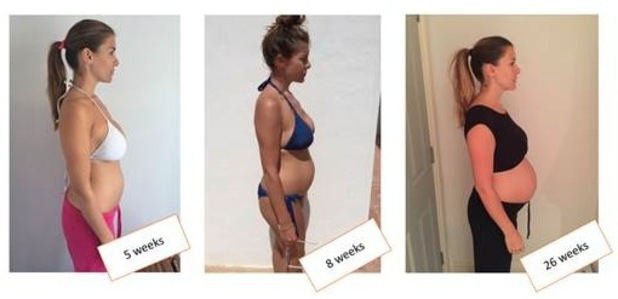 Imogen Thomas is using the Bio-Oil Bump Tracker app to track her changing shape during pregnancy, 29th September 2015