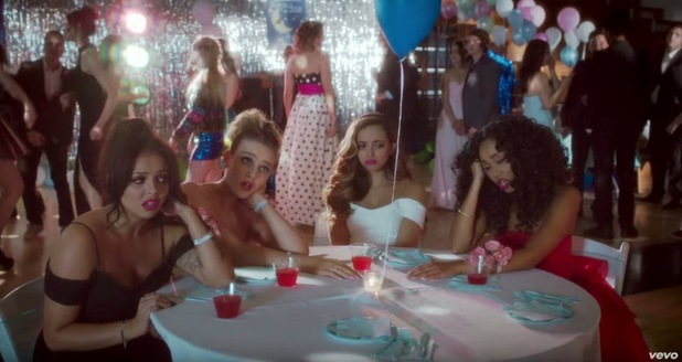 Perrie Edwards, Leigh Anne Pinnock, Jesy Nelson, Jade Thirlwall of Little Mix in the 'Love Me Like You' video, October 2015