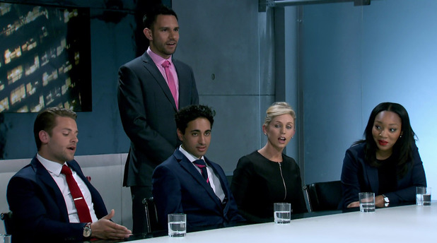 The Apprentice - Team Summit in the boardroom following the week eight task on 'The Apprentice'. Shown on BBC1 HD. 26 November 2014.