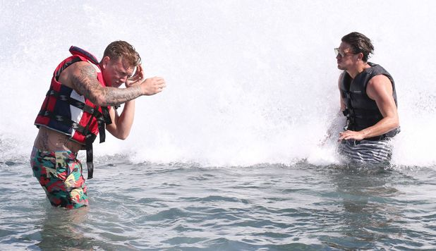 TOWIE's Tommy and Jake jet ski in Marbella, Spain - 25 Sep 2015.