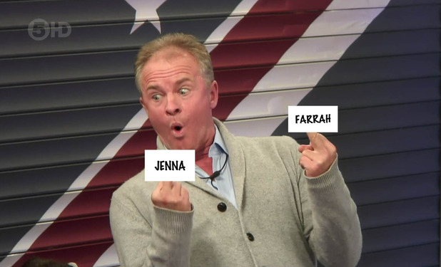 Celebrity Big Brother - Bobby Davro gives a finger salute to Jenna and Farrah aka Jarrah. September 2015.