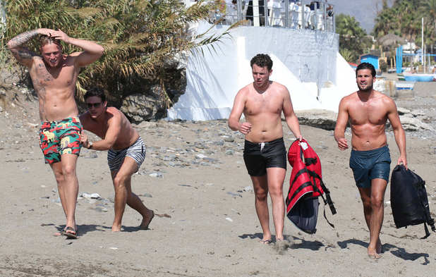 TOWIE boys on the beach after jet ski in Marbella, Spain - 25 Sep 2015.