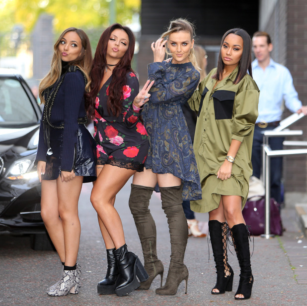 Leigh Anne Pinnock, Jade Thirlwall, Perrie Edwards, Jesy Nelson,  Little Mix, pose outside ITV studios in London, 29th September 2015