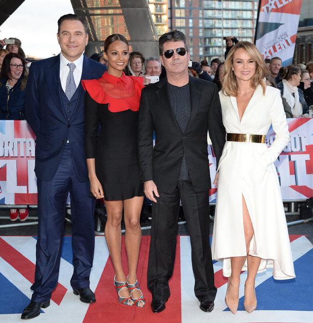 Britain's Got Talent judges - Simon Cowell, David Walliams, Amanda Holden, Alesha Dixon. 31 January 2015.