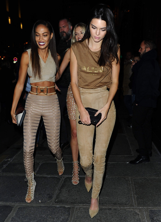 Kendall Jenner, Lily Donaldson and Joan Smalls on way to Balmain dinner in Paris, 2nd October 2015