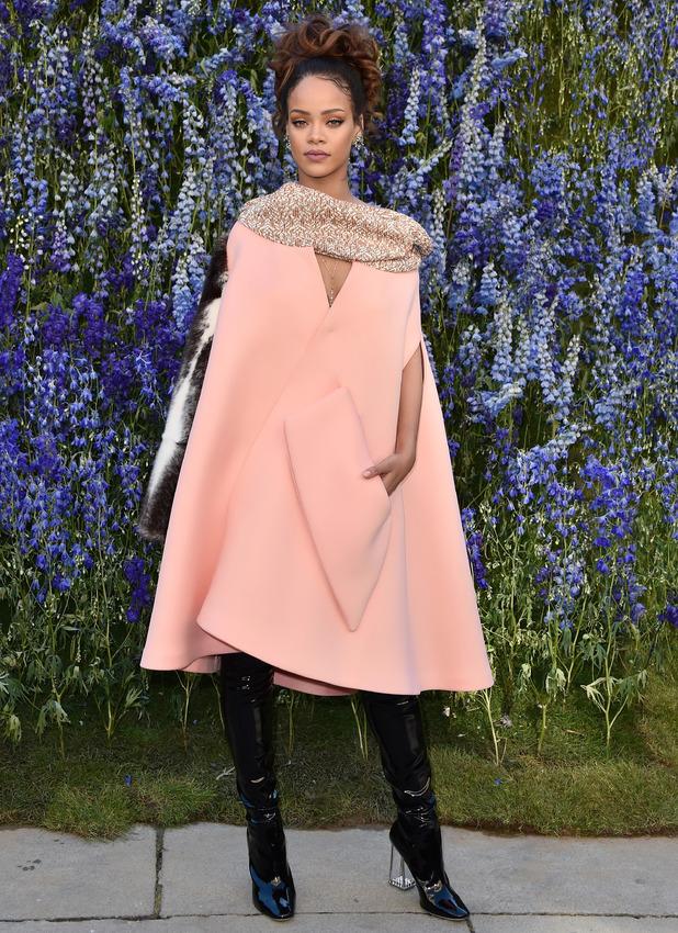 Rihanna at the Christian Dior show, Paris Fashion Week 2nd October 215