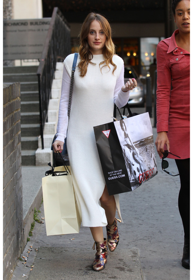 Rosie Fortescue out and about in London wearing ribbed dress, 30th September 2015