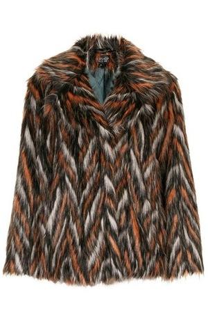 Topshop Chevron Patterned Faux Fur Coat, £89