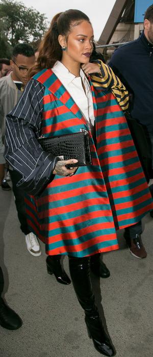 Rihanna wearing striped jacket at Paris Fashion Week, 4th October 2015