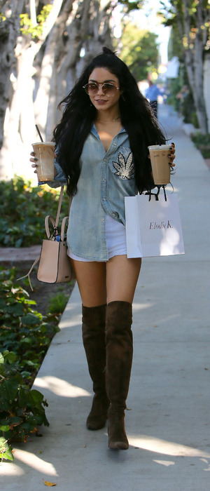 Vanessa Hudgens out and about in Los Angeles wearing marijuana top, 8th October 2015