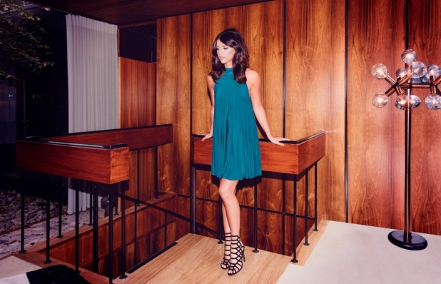 Linzi Bottle Green Pleat Tie Neck Mini Dress, Pretty Little Thing, £28.00