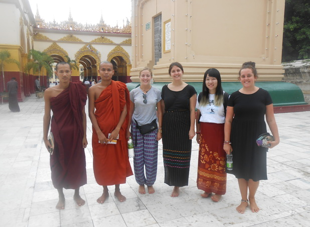 With monks at the Mahamuni Buddha Temple in Mandalay, Myanmar. 5/10/15