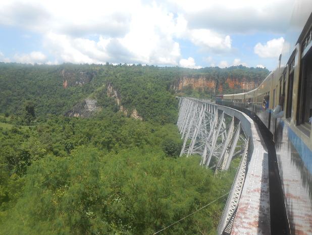 Crossing the Gokteik viaduct in Myanmar. 5/10/15