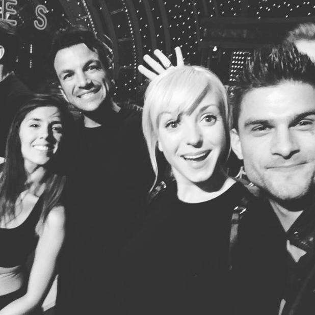 Peter Andre backstage of Strictly with Helen George, Aljaz Skorjanec and Janette Manrara, 09 October 2015.
