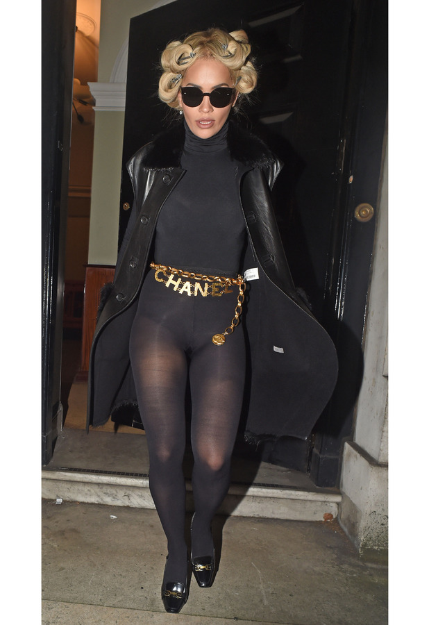 Rita Ora wearing tights and Chanel belt at Sexy Fish restaurant in London's Berkeley Square, 9th October 2015