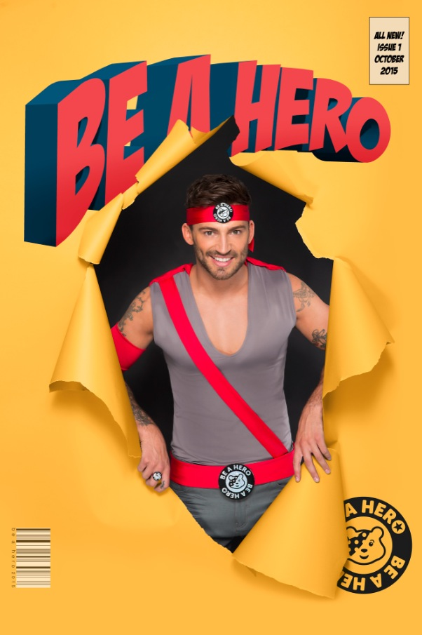 Jake Quickenden takes part in the Celebrity Superheroes unveiled with Post Office's 'Be A Hero' Badge, October 2015
