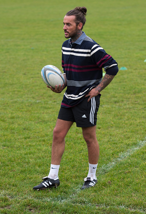 TOWIE cast members have a rugby lesson with Old Brentwood RFC. Pete Wicks