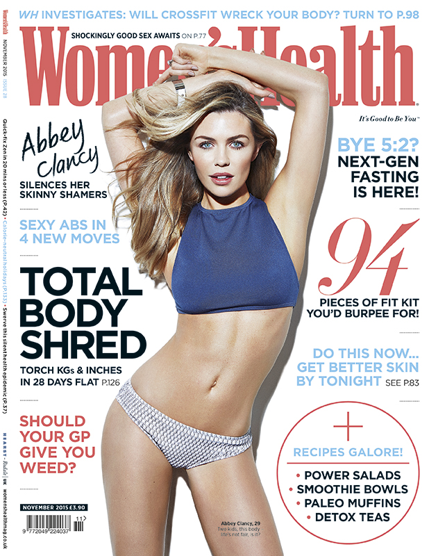 Women's Health November issue (on sale 8th October) has an exclusive interview with Abbey Clancy