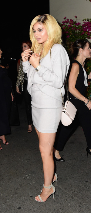 Kylie Jenner poses in white dress at the Cosmopolitan 50th birthday party in Hollywood, 13th October 2015