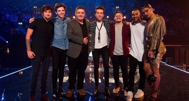 Nick Grimshaw with his final six X Factor contestants, Tom Bleasby, Simon Lynch, Josh Daniel, Ben Clark, Seann Miley Moore, Che Chesterman, October 2015