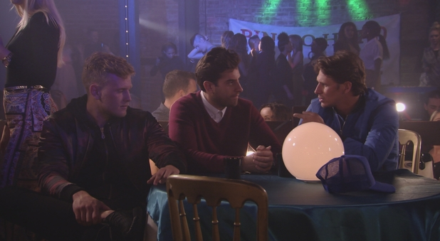 TOWIE: James 'Arg' Argent confides in the boys about his relationship with Lydia. Episode aired: Wednesday 14 October 2015.