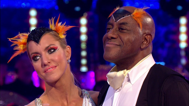 Ainsley Harriott and his dance partner Natalie Lowe after learning they would face the dance off on the results show of the Movie edition of 'Strictly Come Dancing'. Broadcast on BBC1 HD. 12th October 2015