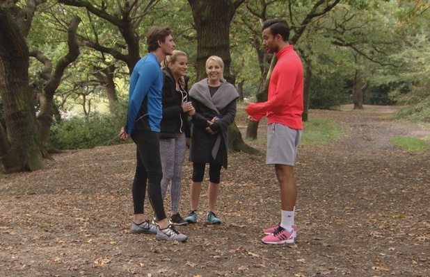 TOWIE: Jake Hall confronts Michael Hassini. Episode aired: Weds 14 October 2015.