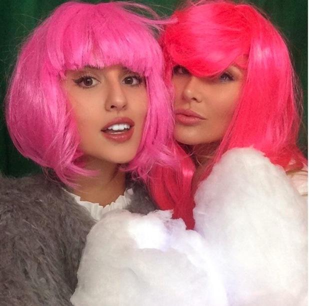 Stephanie Pratt, Lucy Watson wearing pink wigs, 14th October 2015