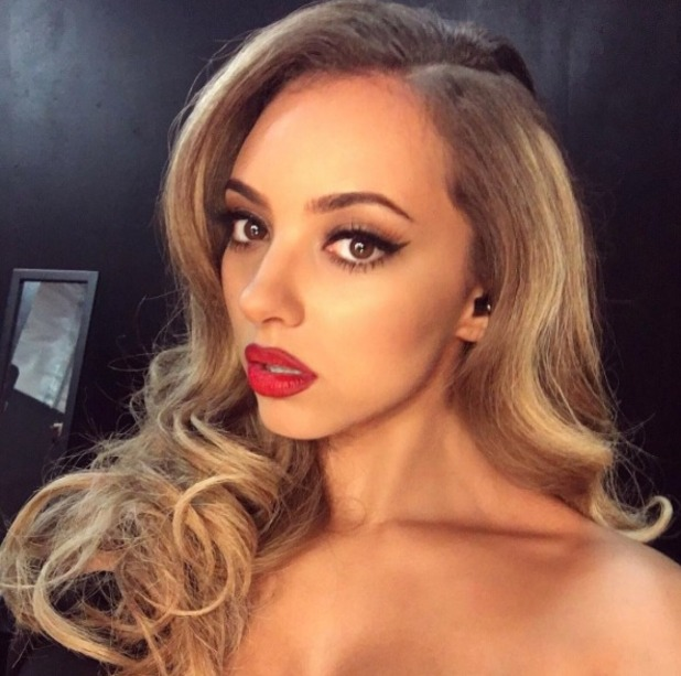 Jade Thirlwall shows off perfect red pout thanks to make-up artist Adam Burrell and Barry M Matte Me Up Lip Crayon, The X Factor Australia, 13 October 2015