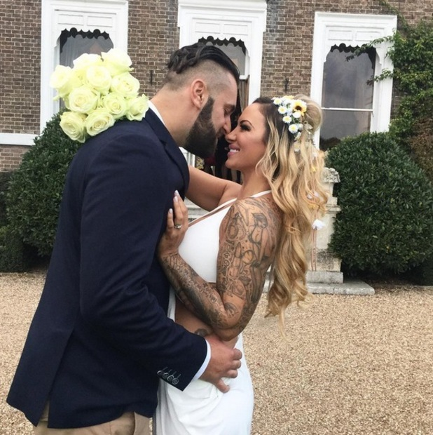 Jodie Marsh and husband James Placido at wedding reception 10 October