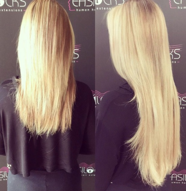 Holly Hagan shows off new super-blonde hair, thanks to Shane O'Sullivan and Easilocks extensions, 14 October 2015