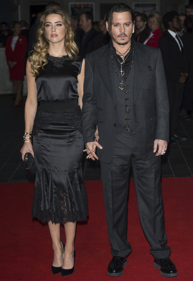 Amber Hears and Johnny Depp at the Black Mass Premiere, BFI London Film Festival, 12th October 2015