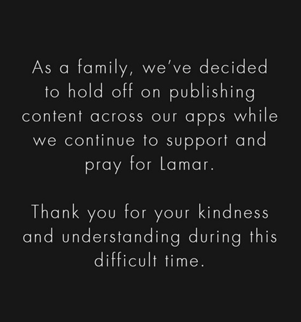 Kardashian Jenner family statement on Lamar and apps