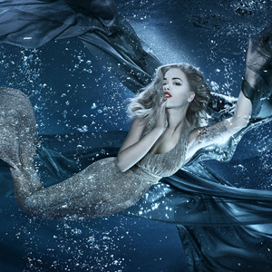 Rita Ora in underwater shoot for new Berkeley Square restaurant, Sexy Fish. 6 October 2015.
