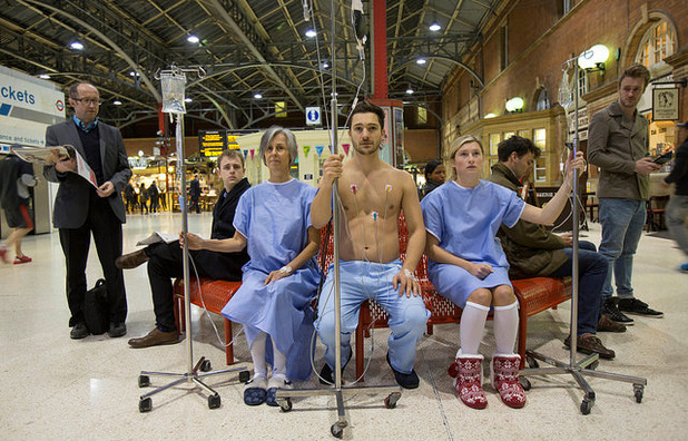 Channel 5's The Gift of Life - Hospital 'patients' dressed in surgical gowns. 20 October 2015.