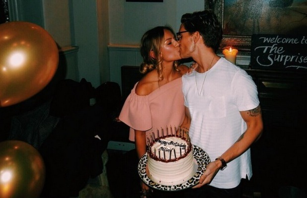 Emma Connolly and Oliver Proudlock at his surprise birthday party 22 October