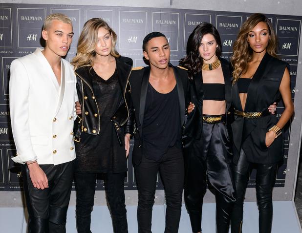 Gigi Hadid, Kendall Jenner, Oliver Rousteing, Jourdan Dunn at Balmain X H&M party in New York 21st October 2015